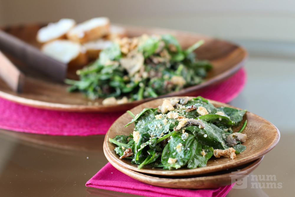 cha cha cha\'s warm spinach salad