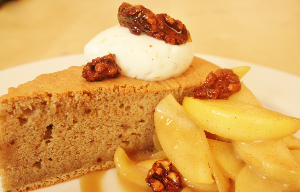 Chestnut Chiffon Cake with Warm Apples and Candied Walnuts