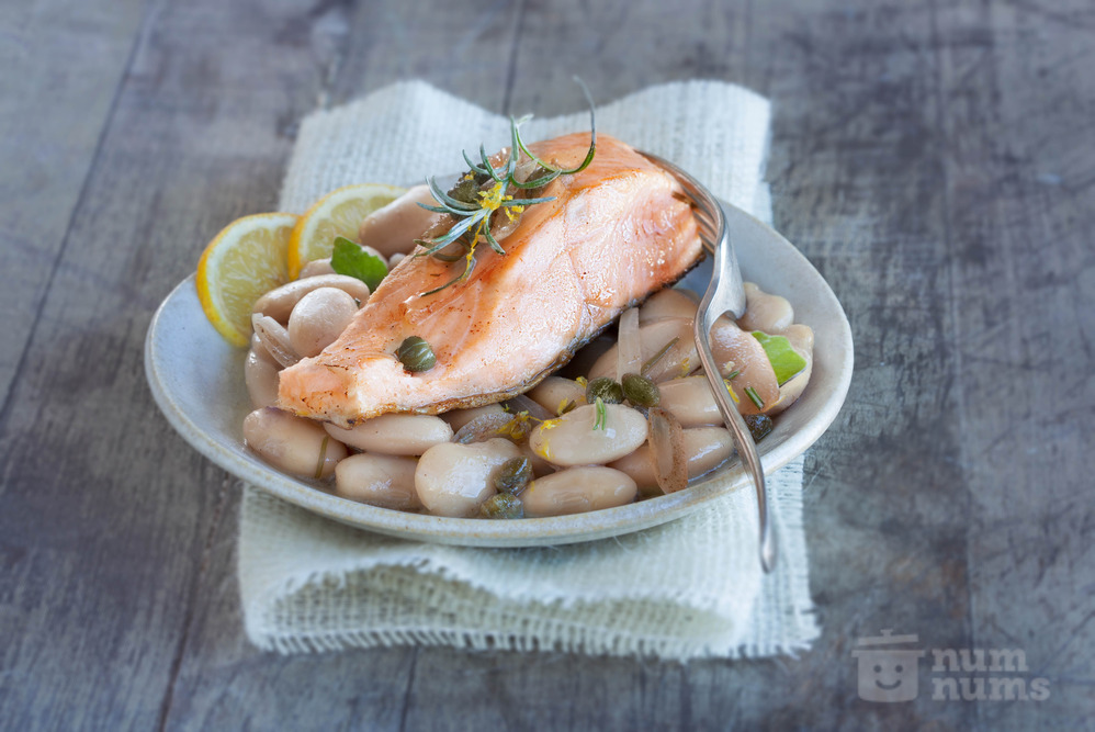 Brown Butter Trout with White Beans and Caper Vinaigrette